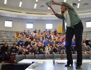Associate Dean Wendy Hilton-Morrow captures a selfie during a session presented by the Communication Studies department on Sept. 24. Photo By Shylee Garrett