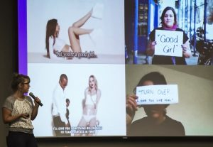 Laci Green shows a slide with images of rape victims holding up quotations by their rapists that are similar to Robin Thicke's lyrics in his song 'Blurred Lines.'