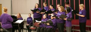 Hersong, the Quad Cities Women's Chorus, performed historical and contemporary songs at Larson Hall on March 26.  Photo by Hoang Nguyen.