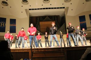 Group performs at Augustana's SING competition. Photo by Brianna Snead.