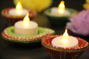 """A """"diya"""" is used to decorate at Diwali festivals. Photo by JanieLe."""