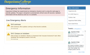 Augustana's website is redirecting to emergency information regarding the active shooter drill.