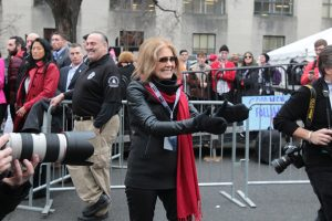 Gloria Steinem, a nationally recognized feminist leader, was a speaker at the Women's March rally. Photo by Lu Gerdemann.